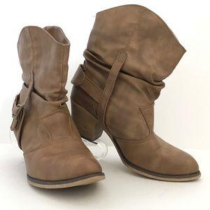 Women's brown heeled slouchy booties 8